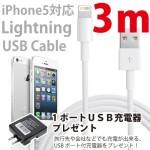 超長〜い、Lightning USBケーブルが便利
